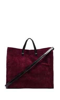 Clare V. Simple Tote in Oxblood Suede