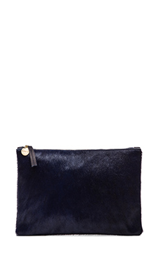 Clare V. Flat Clutch in Navy Hair