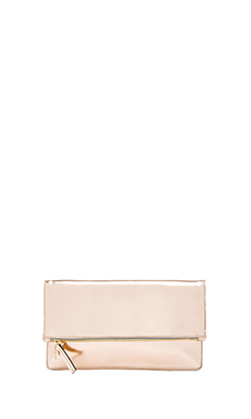 Clare V. Foldover Clutch in Rose Gold Mirror