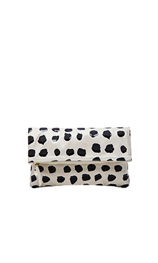 Clare Vivier Foldover Clutch in Cream Milano