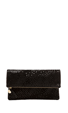 Clare V. Foldover Clutch in Black Star Print