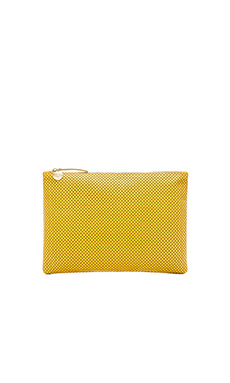Clare V. Flat Clutch in Yellow Axon Perf