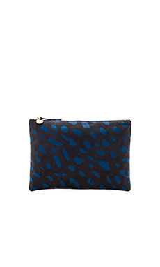 Clare V. Flat Clutch in Royal Blue Jaguar