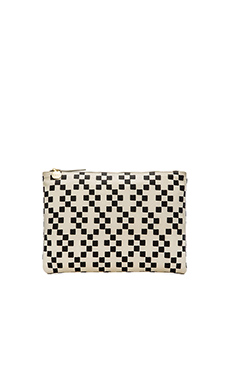 Clare V. Flat Clutch in Black Hopscotch