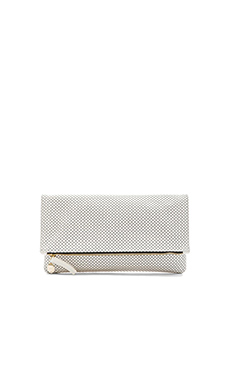 Clare V. Foldover Clutch in Cream Michelangelo Perf