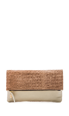Clare V. 2-Tone Foldover Clutch in Blush Croco & Wool Milano