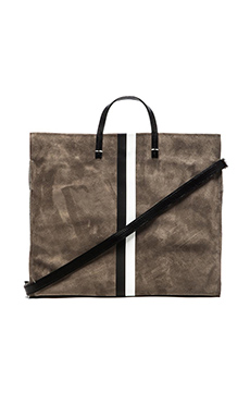 Clare V. Simple Tote in Dark Grey Suede, Black & White Stripes