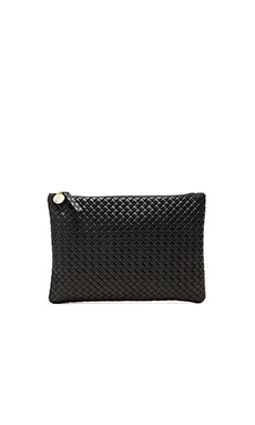 Clare V. Flat Clutch in Black Basketweave