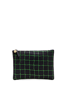 Clare V. Flat Clutch in Navy & Kelly Green Net