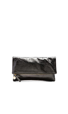 Clare V. Fold over Clutch in Anthracite