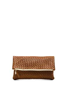 Clare V. Fold over Clutch in Camel Basketweave