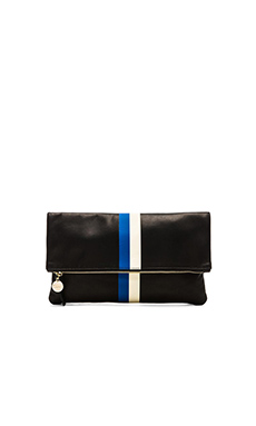 Clare V. Fold over Clutch in Black, Royal Blue & Cream Stripes
