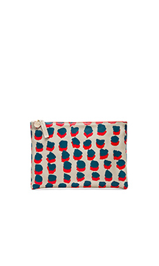 Clare V. Flat Clutch in Grey, Red & Navy Double Dots