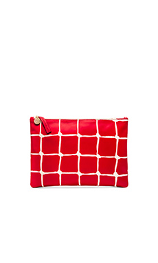 Clare V. Flat Clutch in Poppy & Cream Net