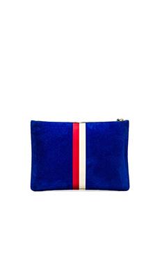 Clare V. Margot Flat Clutch in Electric Blue, Red & Cream Stripes