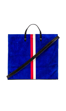 Clare V. Simple Tote in Electric Blue, Red & Cream Stripes