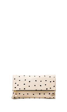 Clare V. Foldover Clutch in Black Spot & Cream