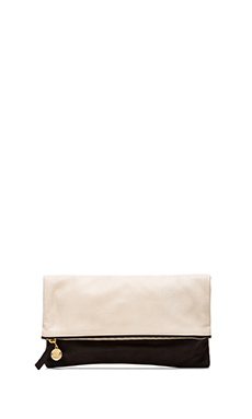 Clare V. Foldover Clutch in Black & Cream