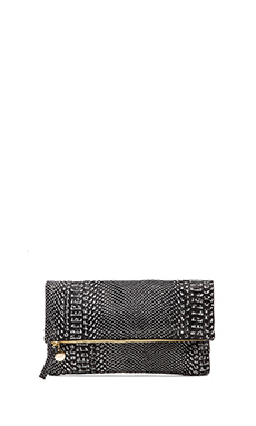 Clare V. Foldover Clutch in Black & White Snake