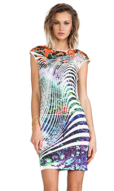 Clover Canyon Ribbon Landscape Neoprene Dress in Multi