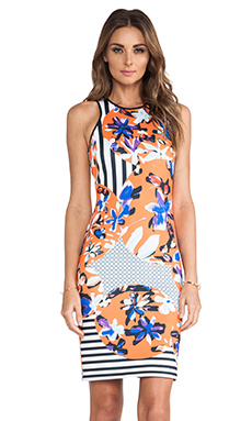 Clover Canyon Floral Discs Neoprene Dress in Orange