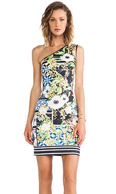 Clover Canyon Greek Tiles Neoprene One Shoulder Dress in Multi