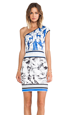 Clover Canyon Marble Party Neoprene One Shoulder Dress in Multi