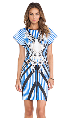 Clover Canyon Striped Sculpture Neoprene Dress in Multi