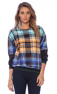Clover Canyon Celtic Plaids Faux Fur Sweatshirt in Faux