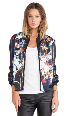Clover Canyon George Bernard Shaw Reversible Faux Fur Lined Neoprene Jacket in Multi