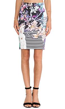 Clover Canyon Enchanted Garden Neoprene Skirt in Multi