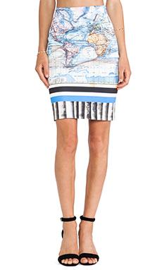 Clover Canyon Ancient World Map Neoprene Skirt in Multi