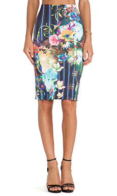 Clover Canyon Magic Underworld Fitted Neoprene Skirt in Multi