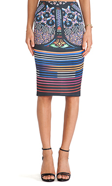 Clover Canyon Stained Glass Neoprene Skirt in Multi