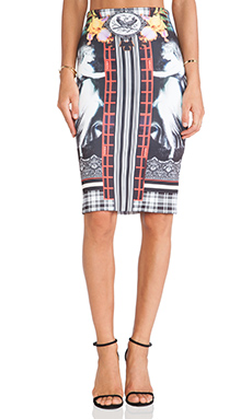Clover Canyon Rainbow Crest Neoprene Skirt in Multi
