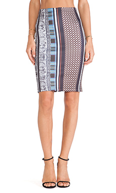 Clover Canyon Library Stripe Neoprene Fitted Skirt in Multi