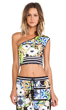 Clover Canyon Greek Tiles One Shoulder Neoprene Top in Multi