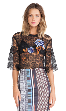 Clover Canyon Floral Embroidery Lace Top in Black