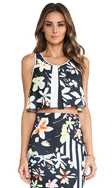 Clover Canyon Garden Plaid Crop Tank in Black