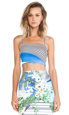 Clover Canyon Corfu Swirl Neoprene Crop Top in Multi