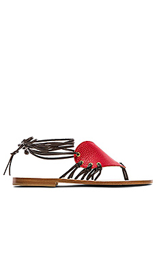 CoRNETTI Madonnina Calfskin Heart Sandals in Red