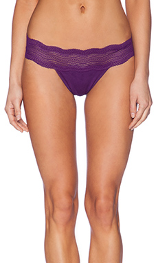 Cosabella Dolce Ribbed Lace Thong in Gemstone