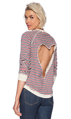 Chaser Open Heart Pullover in Striped