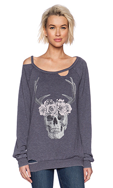 Chaser Rose Skull Sweatshirt in Dark Slate