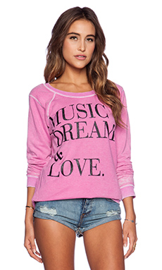 Chaser Music Dreams & Love Sweatshirt in Sparkle Pink