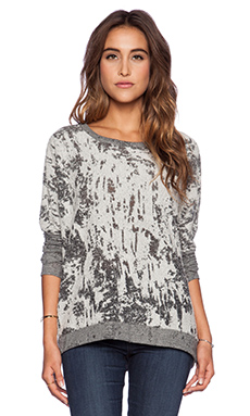 Chaser Teardrop Dolman Sweatshirt in Grey & White