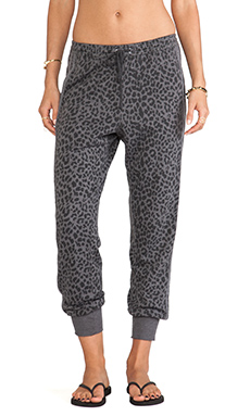Chaser Reverse Animal Print Slouchy Pant in Granite