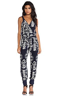 Chaser Silk Jumpsuit in Antique Floral