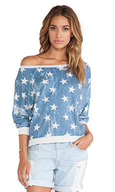 Chaser Star Spangled Top in Antique White & Blue