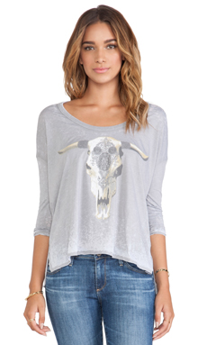 Chaser Jeweled Skull Top in Platinum